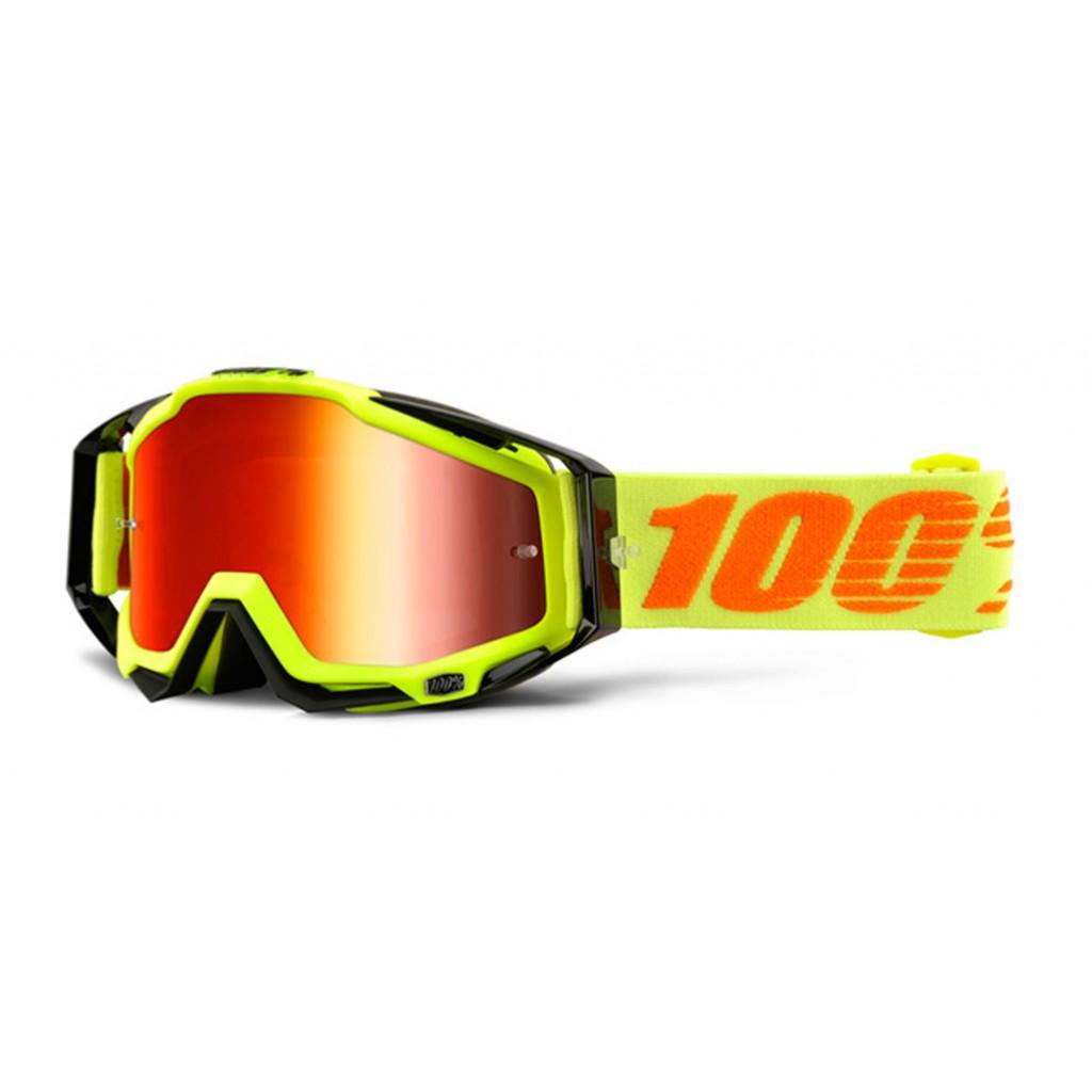 Maschera 100% Racecraft Attack Yellow Mirror Red Lens