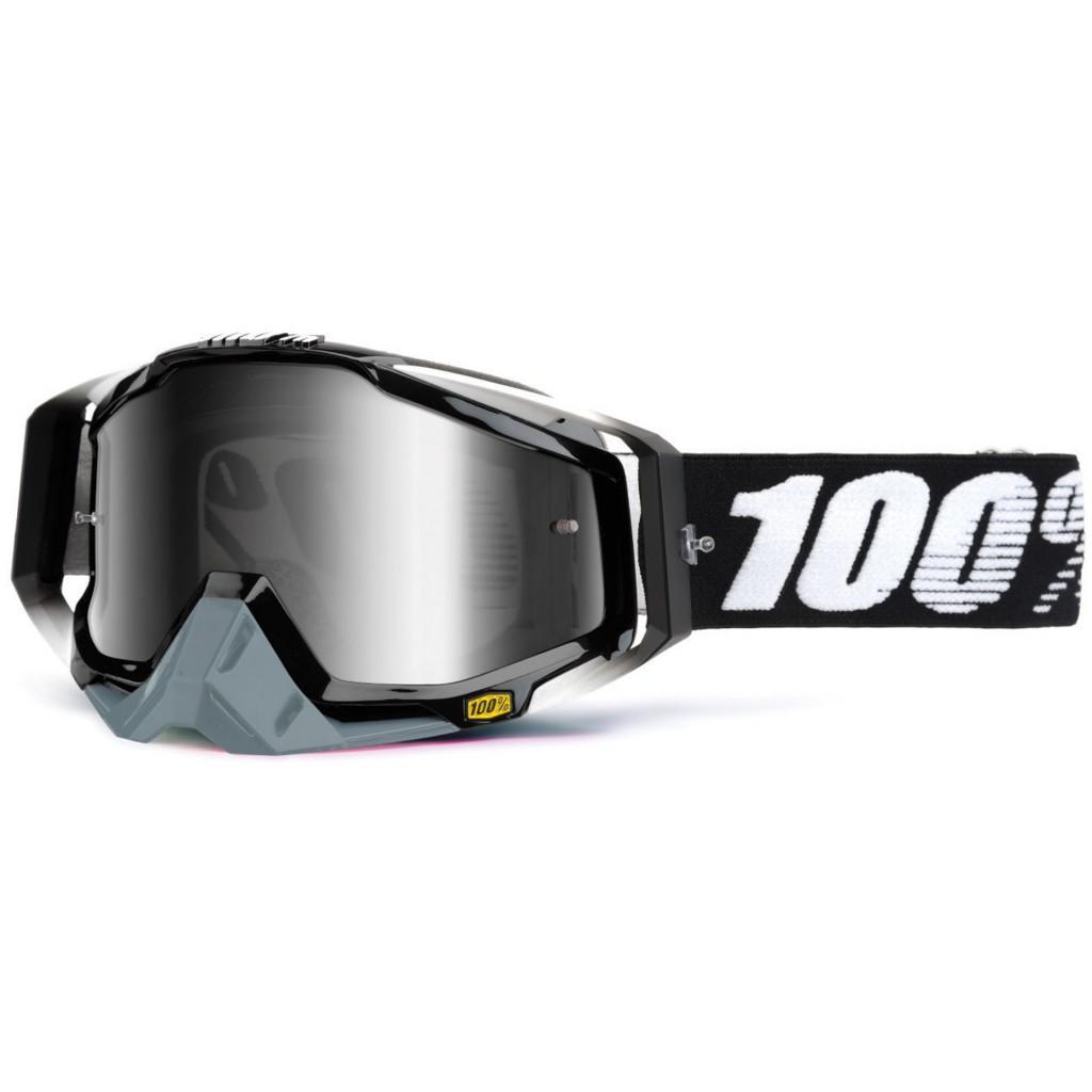Maschera 100% Racecraft Abyss Black Mirror Silver Lens