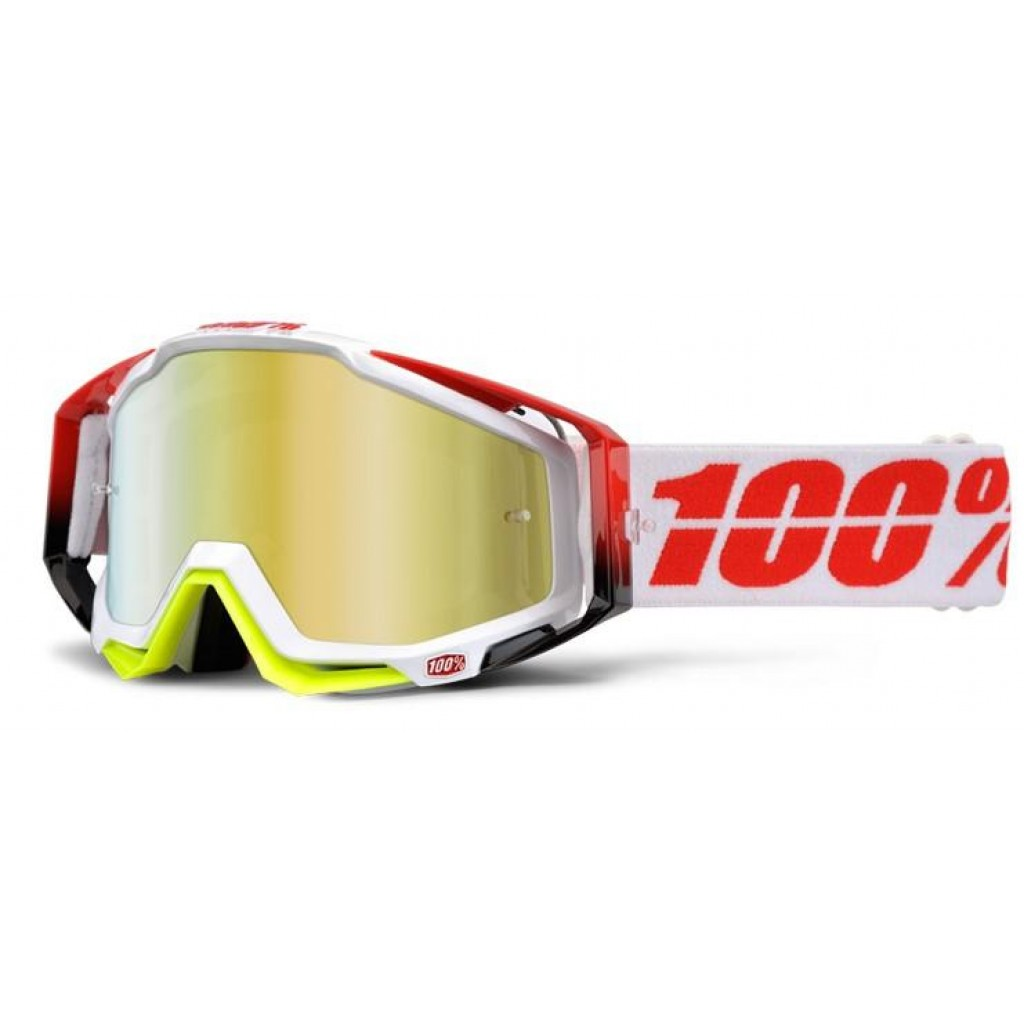 Maschera 100% Racecraft Flush Mirror Gold Lens